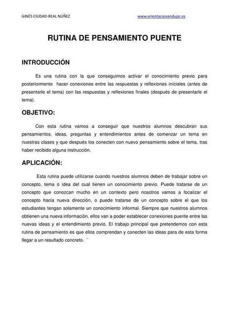 Rutina de pensamiento Puente; Metodología y Organizador Gráfico   Orientacion AndujarOrientacion Andujar   Educacion, ecologia y TIC   Scoop.it