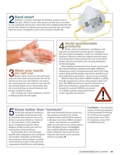 Resin Crafts: Our Expert Resin Safety Advice in the New Bead and Button Magazine | Jewelry Inspiration | Scoop.it