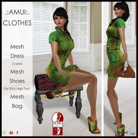 Lola Outfit Green Teleport Hub Group Gift by AMUI | Teleport Hub - Second Life Freebies | Second Life Freebies | Scoop.it
