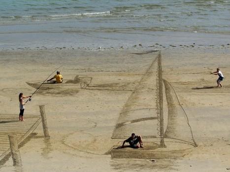 Des dessins en 3D sur la plage by Jamie Harkins   [Art] - artist's point of view, creative process &  interesting pieces   Scoop.it