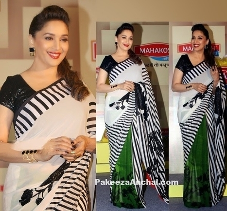 Madhuri Dixit in Printed Saree and Sequin Black Blouse by Satya Paul | Indian Fashion Updates | Scoop.it