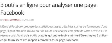 3 outils en ligne pour analyser une page Facebook | Les outils de la veille | Webmarketing tools | Scoop.it