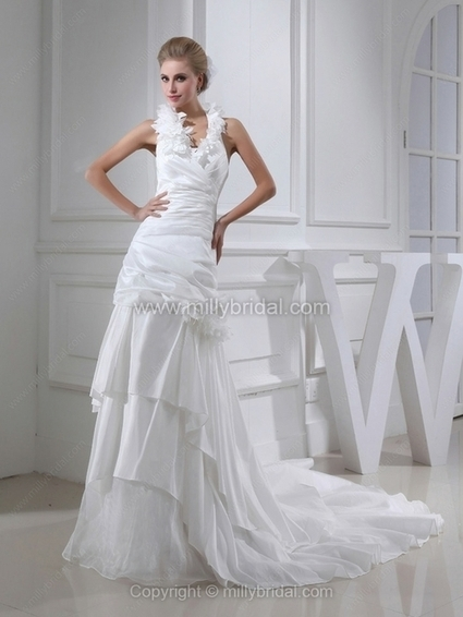Sheath/Column Halter Taffeta Chapel Train Tiered Wedding Dresses - www.millybridal.com | fashion dresses and  jewelry | Scoop.it