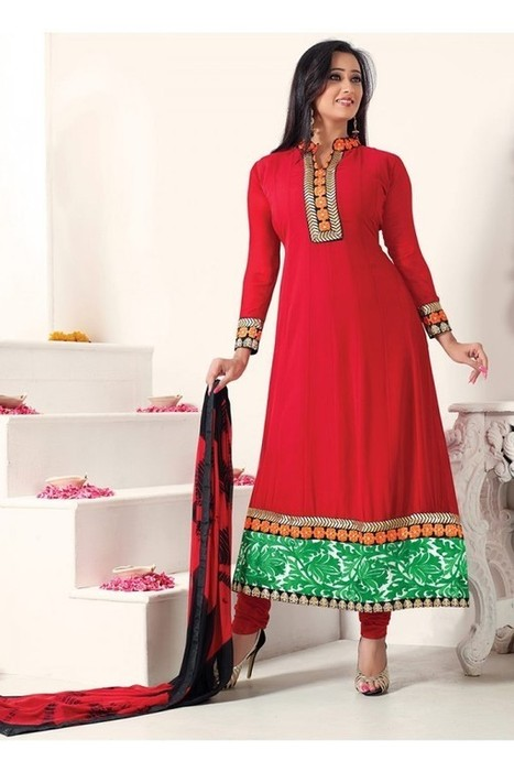Blood Red Party Wear Shweta Tiwari Style Suit | Onlinesaree | Scoop.it