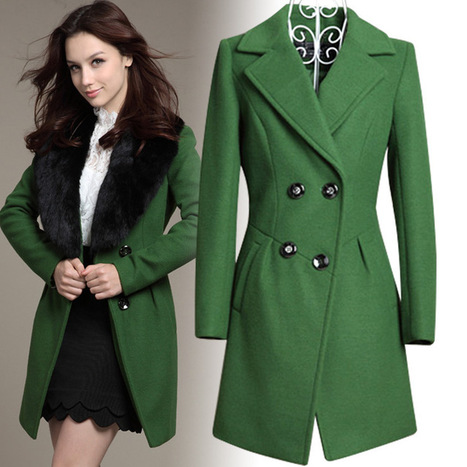 Cheap luxury Cotton Flax rabbit fur collar Long Slim woolen trench jacket in women outcoat from women clothing on sightface.com | Cheap women Clothing Online at Sightface | Scoop.it