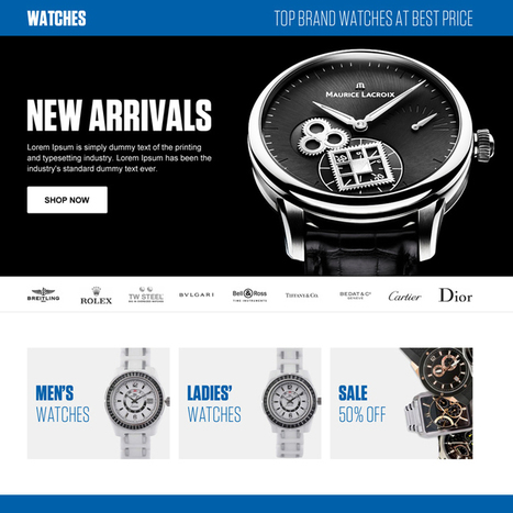 best online watch store ecommerce landing page design template | converting and effective landing page designs | Scoop.it