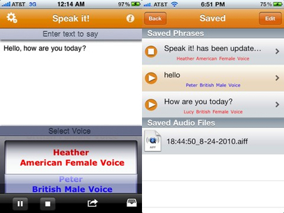 Speak it! Text to Speech iPhone app review | AppSafari | Technology to assist in mobile learning and instruction | Scoop.it