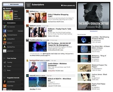 "TechCrunch | YouTube's New Homepage Goes Social With Algorithmic Feed, Emphasis On Google+ And Facebook | ""#Google+, +1, Facebook, Twitter, Scoop, Foursquare, Empire Avenue, Klout and more"" 