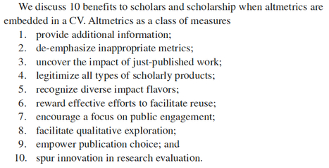 The power of altmetrics on a scholar's CV; 10 benefits to scholars and scholarship when altmetrics are embedded in the CV | Altmetrics | Scoop.it