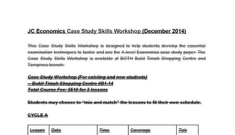 Case Study Workshop (For existing and new students) | JC Economics Tuition Centre | Scoop.it