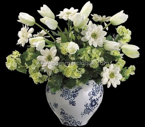"Artificial Flower Arrangement w/ Tulip, Calendula, Snowball Silk Flowers – 19"" - Commercial Silk Int'l | Home Improvement - Landscaping | Scoop.it"
