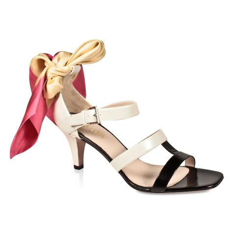 Prada Women's Shoes Classic Black and Beige Low Heel Sandals w/ Silk Wrap | Designer Womens Shoes | Scoop.it