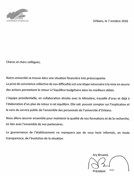 Courriel de A. Bruand (7/10/16), Pst de l'Univ. d'Orléans, à l'ensemble des personnels : Situation budgétaire de l'établissement | Enseignement Supérieur et Recherche en France | Scoop.it