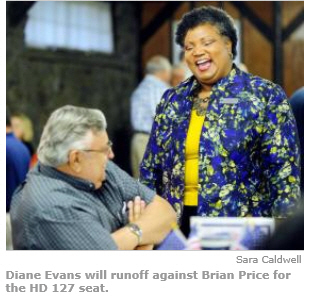 """""""Brian Prince and Diane Evans in runoff for House District 127 seat"""" 