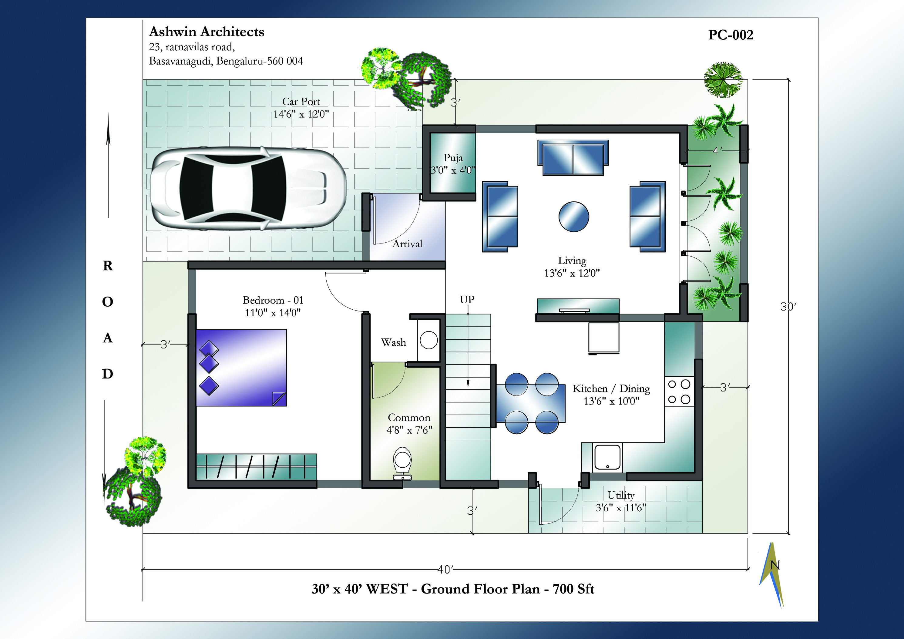 30 X 40 House Plans | 30 X 40 West Facing House...