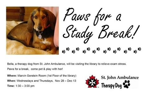 Paws for a Study Break at the Gerstein Science Information Centre | University of Toronto Libraries | Ontario Library Smiles | Scoop.it