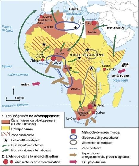 Croquis: le continent africain face au développement et à la mondialisation. - blog histoire geographie lycée eaubonne | Croquis et Schémas pour la Première et la Terminale | Scoop.it