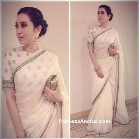 Karishma Kapoor in White Sabyasachi Saree with Full sleeved Blouse | Indian Fashion Updates | Scoop.it
