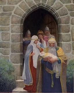El mago Merlín llevandose a Arturo de los brazos de su madre la reina Igrine. | El Rey Arturo | Scoop.it