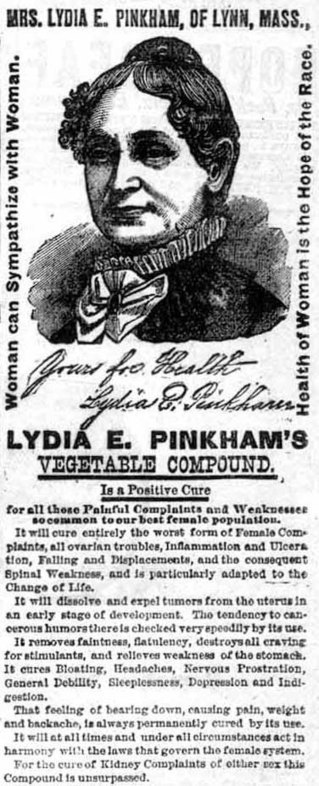 Ad from 1881 for Lydia Pinkham's Compound at the Museum of Menstruation and Women's Health | Advertisinghistory | Scoop.it