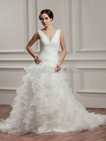 Princess V-neck Organza Chapel Train Criss Cross Wedding Dresses - www.millybridal.com | wedding and event | Scoop.it