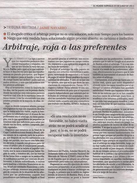 Arbitraje, tarjeta roja a las preferentes | Preferentes y otros tóxicos bancarios | Scoop.it