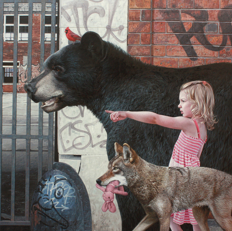 Hyperrealistic Paintings of Children and Animals Exploring Urban Remains by Kevin Peterson   Amazing art!   Scoop.it