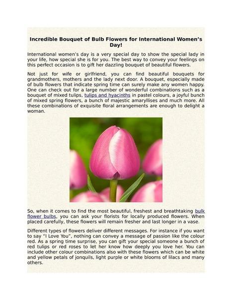 Incredible Bouquet of Bulb Flowers for International Women's Day | Flower Bulbs | Scoop.it
