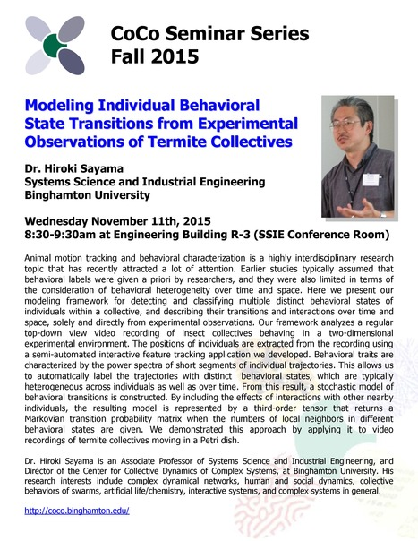 Next CoCo Seminar by Hiroki Sayama on Wed. Nov. 11th | Center for Collective Dynamics of Complex Systems (CoCo) | Scoop.it