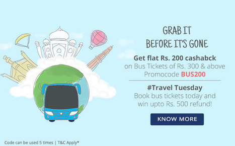Mega Tuesday Bus Offer - Flat Rs 200 Cashback on of Rs 300 At Paytm | Online Shopping |  Best Deals | Coupons | Scoop.it
