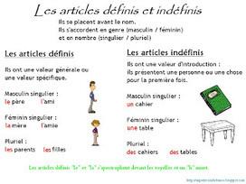 Cours de français: Articles indéfinis et définis   LA PAUSE   Scoop.it