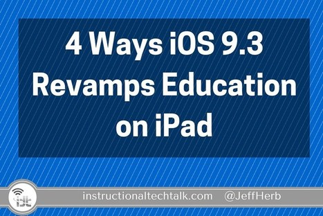4 Ways iOS 9.3 Radically Improves the Apple Education Platform - Instructional Tech Talk | An Eye on New Media | Scoop.it