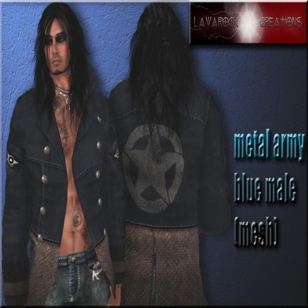 Metal Army Blue Jacket Group Gift by Lavarock Creations | Teleport Hub - Second Life Freebies | Second Life Male Freebies | Scoop.it