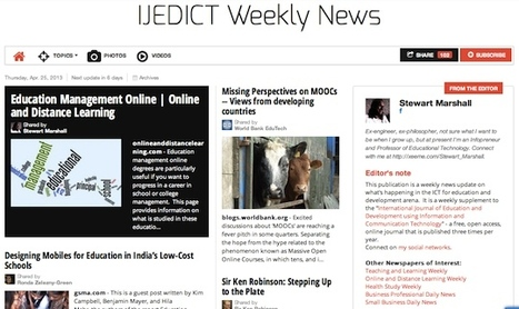 April 25, 2013: IJEDICT Weekly News is out | Studying Teaching and Learning | Scoop.it
