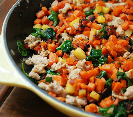 Multiply Delicious- The Food | Skillet Sweet Potato, Sausage, and Spinach Hash | Truly Healthy Recipes | Scoop.it