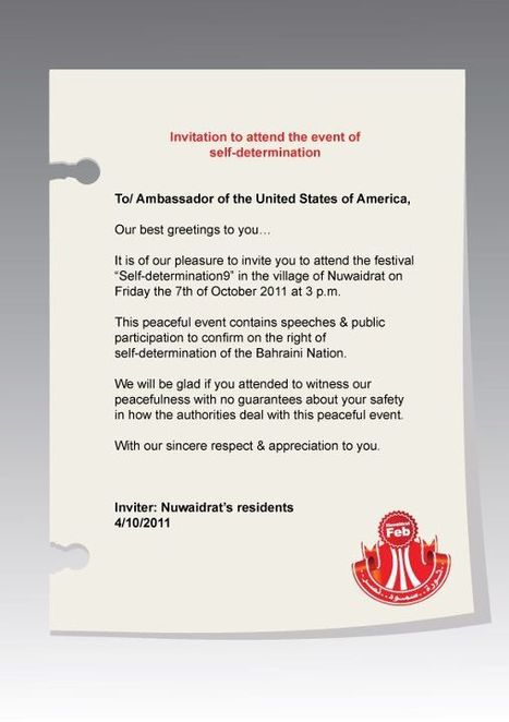 Invitation to Ambassador from the USA to Bahrain to attend the event of Self-determination 10/7/2011 | Human Rights and the Will to be free | Scoop.it