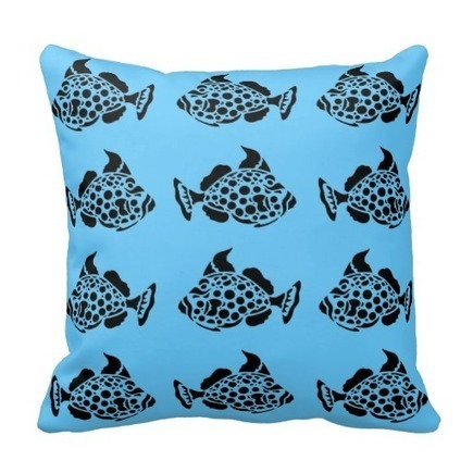 Black Stencil Style Fish on Blue Pillows   Flamin Cat Designs At Zazzle   Scoop.it
