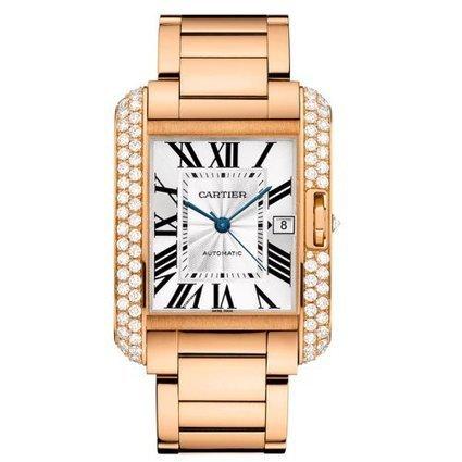 Cartier 18k Rose Gold & Diamond Tank Anglaise Men's Watch WT100004 | Online-store | Scoop.it