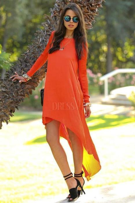 Orange  Long Sleeve Asymmetrical Dress | Dressve fashion | Scoop.it
