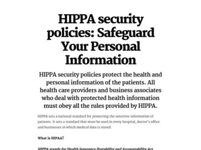 HIPPA security policies: Safeguard Your Personal Informatio | Online HIPAA Training Resources | Scoop.it