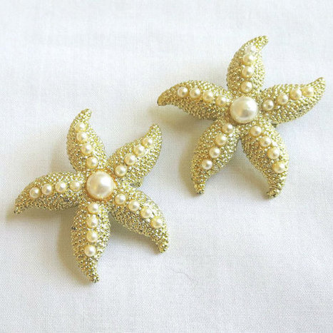 2 Vintage Faux Pearls Starfish Brooches or Scatter Pins   Favorite Vintage Jewelry   Scoop.it