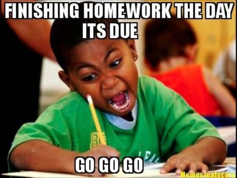 Finishing the homework the day it's due! | Policies: (1) Homework and (2) Standard Testing | Scoop.it