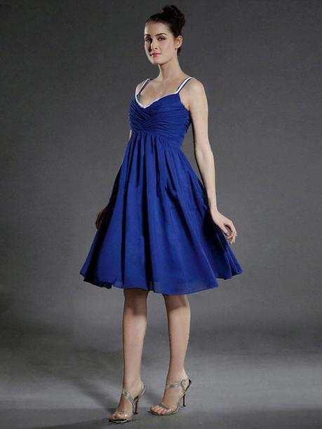 A-line Straps Chiffon Knee-length Sleeveless Pleats Evening Dresses at sweetquinceaneradress.com | SWEET 16 DRESSES | Scoop.it