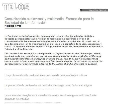 :: revista TELOS Comunicación audiovisual y multimedia: <a>Formación para la Sociedad de la Información | Dossier: TIC, educación y universidad | Scoop.it