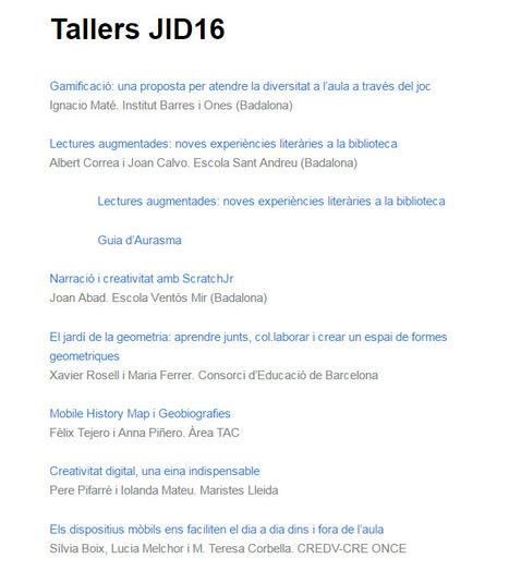 Tallers JID16 | Jornada d'inclusió digital | MÒBIL ES.COLA | Scoop.it