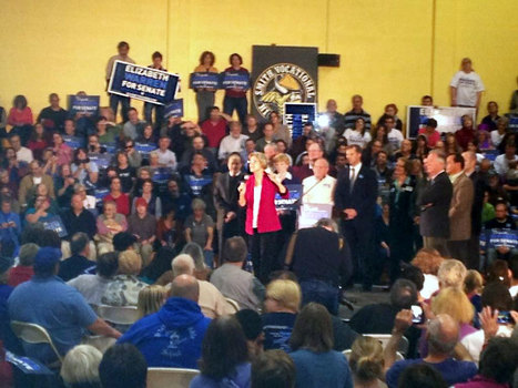 photo: @ElizabethforMA firing up the crowd in Northampton at Smith Vocational | Massachusetts Senate Race 2012 | Scoop.it