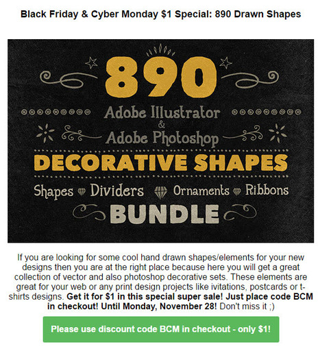 CyberMonday : 890 Unique Handwritten Decorative Shapes $1 (rrp 38) | Design Freebies & Deals | Scoop.it