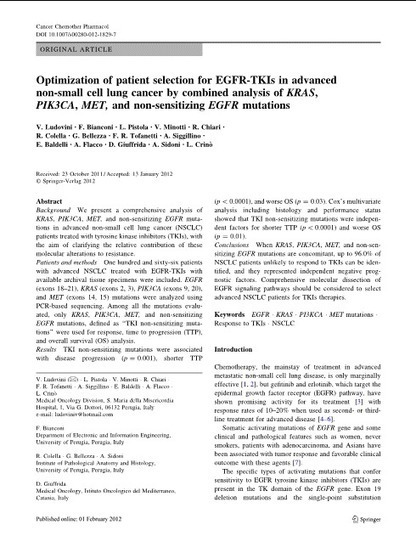 Optimization of patient selection for EGFR-TKIs in advanced non-small cell lung cancer by combined analysis of KRAS, PIK3CA, MET, and non-sensitizing EGFR mutations | Biomarkers and Personalized Medicine | Scoop.it