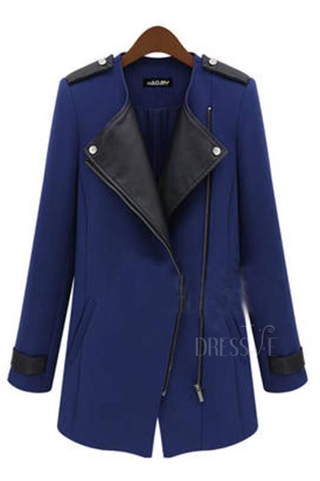 Long Sleeve Patchwork Zippered Lapel Trench Coat   Dressve fashion   Scoop.it