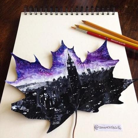 Self-Taught Artist Paints Beautiful Landscapes on Fallen Leaves | Strange days indeed... | Scoop.it